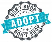Adopt Don't Shop Vintage Turquoise Seal Isolated On White