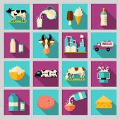 foto of milk products  - Milk dairy product flat long shadow icons set with processing splash sour cream isolated vector illustration - JPG