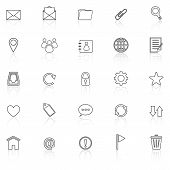 Mail Line Icons With Reflect On White Background