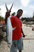 Zanzibar Dark-skin Fisherman Holding Mackerel