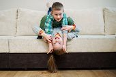 boy and girl fool upside down