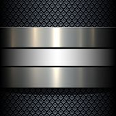 Background 3d metallic banner on seamless grey pattern, vector illustration.