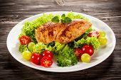 picture of roast chicken  - Roast chicken fillet and vegetables - JPG