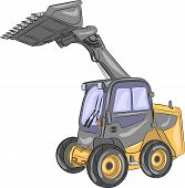 stock photo of wheel loader  - Compact mini loader with raised bucket isolated on a white background - JPG