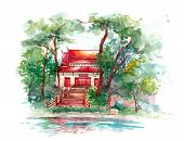 Red Classic Asian Building In Lush Nature
