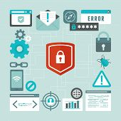 picture of spyware  - Vector internet and information security concept in flat style  - JPG