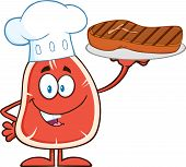 Chef Steak Cartoon Mascot Character Holding Up A Platter With Grilled Steak