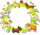 Round Frame with Cartoon Dogs
