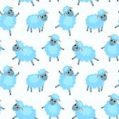 Seamless Pattern With Happy Sheep