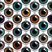 Open Human color Eyes seamless pattern
