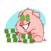 Pig character and lot of money