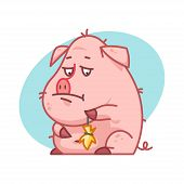 Pig character upset and sad
