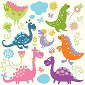 foto of dinosaur-eggs  - seamless pattern with pretty dinosaurs - JPG