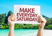 Make Everyday Saturday card with beach background