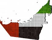 United Arab Emirates map with flag inside