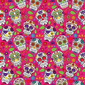 stock photo of skull cross bones  - Day of the Dead Sugar Skull Seamless Vector Background - JPG