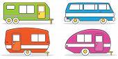 stock photo of caravan  - Retro caravan mobile home illustration vector version 10 - JPG