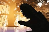 stock photo of mystique  - Aligators in Mysterious Fantasy Deep Jungle in Water in the Sunset Sunrise 3D Illustration - JPG