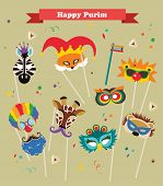 pic of purim  - design for Jewish holiday  Purim with masks and traditional props - JPG