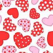 Cute Seamless Pattern With Patchwork Hearts