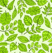 Cartoon Hand-drawn Seamless Pattern With Spring Leaves