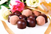 Gift Of Chocolates, Truffles With Flowers
