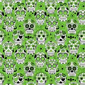 stock photo of day dead skull  - Day of the Dead Sugar Skull Seamless Vector Background - JPG