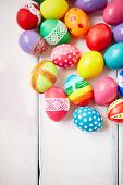 Creatively painted colorful Easter eggs