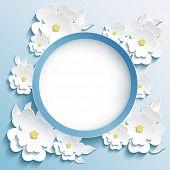 Greeting Or Invitation Card, Frame With 3D Sakura