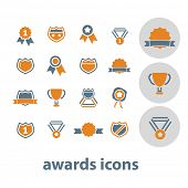 awards, trophy, winner cup isolated design flat icons, signs, illustrations vector set on background