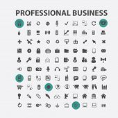 100 professional business, management, communication, office isolated design flat icons, signs, illustrations vector set on background