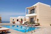 picture of villa  - Swimming pool at the modern luxury villa Crete Greece - JPG