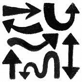 Set of black arrow shapes.