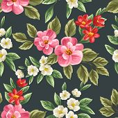 picture of pattern  - Floral seamless pattern with pink - JPG