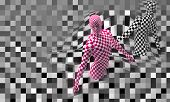 Black End Red Checkered Man
