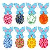 Eight Small Bunnies With Easter Eggs