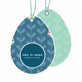 Vector blloming vines stripes Easter egg shaped tags set template