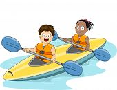 Illustration of a Boy and a Girl Maneuvering a Kayak