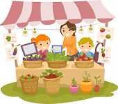 stock photo of stickman  - Illustration of Stickman Kids Manning a Fruit and a Vegetable Stand - JPG
