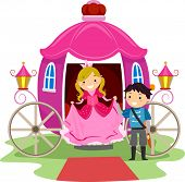 Illustration of Stickman Kids Dressed as a Prince and a Princess
