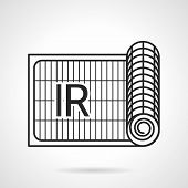 picture of irs  - Black flat line vector icon for IR heated floor reel on white background - JPG