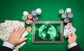 stock photo of poker hand  - casino - JPG