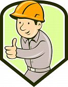 Builder Construction Worker Thumbs Up Shield Cartoon