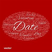 Vector concept or conceptual white wordcloud text in shape of ellipse symbol isolated on red background, metaphor to love, romance, passion, romantic, emotion, marriage, valentine, desire or affection