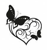 Decorative Composition Of Curls And Ornamented Abstract Silhouette Of Butterflies And Heart