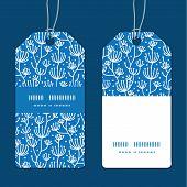Vector blue white lineart plants vertical stripe frame pattern tags set