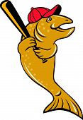 picture of baseball bat  - Illustration of a trout fish baseball player with hat holding baseball bat batting looking to the side set on isolated white background done in cartoon style - JPG