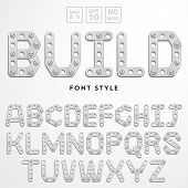 Vector latin alphabet made of metal meccano