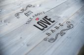 Valentines message against bleached wooden planks background