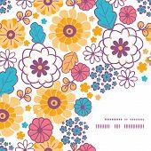 Vector colorful oriental flowers frame corner pattern background